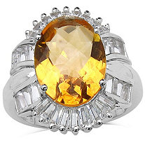 7.0 CT TW Citrine And White Topaz Ring In Sterling Silver