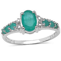 1.19 CT Emerald and .01 White Topaz Ring in Sterling Silver