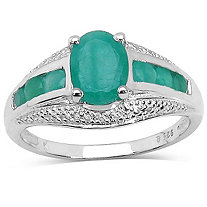 1.70 CT TW Oval and Round Emerald Ring in Sterling Silver