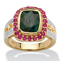 3.49 TCW Cushion-Cut Genuine Emerald and Ruby 14k Gold over Silver Ring