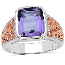 2.65 CT Bezel-Set Amethyst Openwork Ring in Tutone Sterling Silver