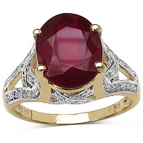 5.50 CT Oval-Cut Ruby Ring in Tutone 14k Gold over Sterling Silver