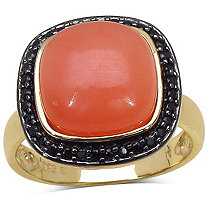 .34 CT TW Black Spinel and Peach Moonstone Ring in 14k Gold over Sterling Silver
