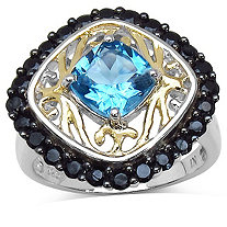 1.90 CT Blue Topaz and Black Spinel Ring in Tutone 14k Gold over Sterling Silver
