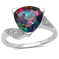 3.50 CT Trilliant-Cut Mystic Topaz Ring In Sterling Silver