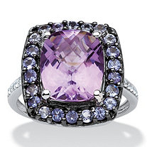 4.51 CT TW Amethyst, Tanzanite and White Topaz Ring in Sterling Silver