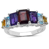 3.40 CT TW Garnet/Amethyst/Blue Topaz and Citrine Step Ring in Sterling Silver