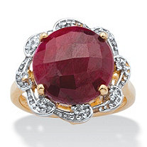 10-Carat Round Checkerboard-Cut Genuine Ruby 14k Gold Over Silver Cocktail Ring