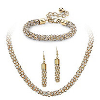 3 Piece Crystal Tube Necklace, Bracelet and Drop Earrings Set in Gold Tone