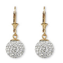Round Crystal 18k Yellow Gold over Sterling Silver Ball Drop Earrings