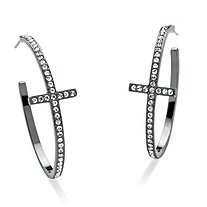 "Round Crystal Black Rhodium-Plated Curved-Cross Hoop Earrings 1 1/2"" Diameter"