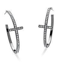 Round Crystal Black Rhodium-Plated Curved-Cross Hoop Earrings 1 1/2