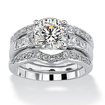 2.95 TCW Round Cubic Zirconia Platinum over Sterling Silver 3-Piece Bridal Engagement Ring Set