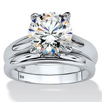 3.00 TCW Round Cubic Zirconia Platinum over Sterling Silver Bridal Engagement Ring Set