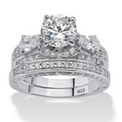 3.47 CT TW Platinum over Sterling Silver DiamonUltra™ Cubic Zirconia Bridal Ring Set