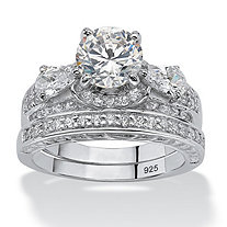 3.46 TCW Round Cubic Zirconia Platinum over Sterling Silver Bridal Engagement Ring Set