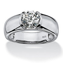 Men's 2-Carat Semi-Bezel-Set Round Cubic Zirconia Platinum over Sterling Silver Classic Ring