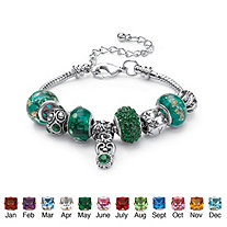 Birthstone-Color Silvertone Bali-Style Beaded Charm and Spacer Bracelet 7""