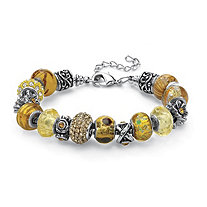 Round Amber-Color Crystal Silvertone Bali-Style Beaded Charm and Spacer Bracelet 8""