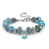 Round Baby Blue Crystal Silvertone Bali-Style Beaded Charm and Spacer Bracelet 8""