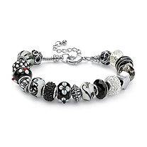 Round Black and White Crystal Silvertone Bali-Style Beaded Charm and Spacer Bracelet 8""