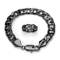 "Men's Black ION-Plated Stainless Steel ""Barbed Wire"" Wedding Band and Curb-Link Chain Bracelet 9"""