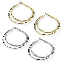 Double Hoop Earrings in Yellow Gold Tone and Free Double Hoop Earrings in Silvertone