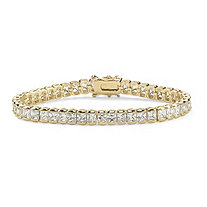 12.60 TCW Princess-Cut Cubic Zirconia 14k Yellow Gold-Plated Straight Line Tennis Bracelet 7 1/2""