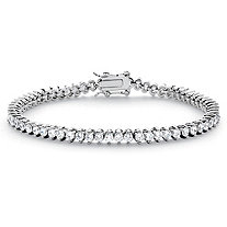 6.50 TCW Round Cubic Zirconia Platinum over Sterling Silver Straight Line Bracelet 7 1/2