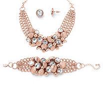 Bezel-Set Crystal Rose Gold-Plated Collar Necklace, Bracelet and Stud Earrings Set