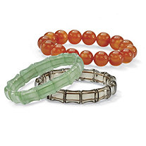 3 Piece Jade and Genuine Chalcedony Stretch Bracelet Set 7""