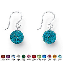 Round Simulated Birthstone Sterling Silver Crystal Globe Drop Earrings