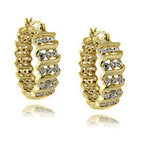 "Diamond Accent ""S"" -Link Hoop Pierced Earrings In 18K Gold-Plated"