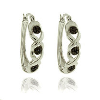"Black Diamond Accent ""X & O"" Pave Hoop Pierced Earrings In Black Ruthenium and Silvertone Metal"