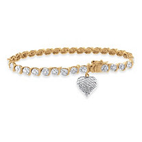 "Tutone Diamond Accent ""S"" -Link Pave Heart Charm Bracelet In 18k Gold-Plated"