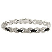 Black Diamond Accent Crossover Pavé Bracelet in Black Ruthenium Finish and Silvertone Metal