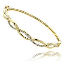 Tutone Diamond Accent Crossover Pave Bangle Bracelet In 18k Gold-Plated