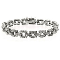Diamond Accent Box-Link Pave Bracelet In Silvertone