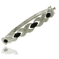 Black Diamond Crossover Pave Bangle Bracelet in Black Ruthenium Finish And Silvertone Metal