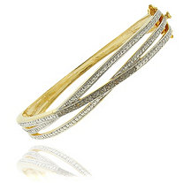 Tutone Diamond Crossover Pav and eacute; Bangle Bracelet in 18k Gold-Plated