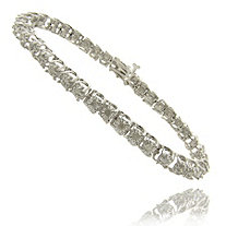 Round Diamond Pav and eacute; Tennis Bracelet in Silvertone