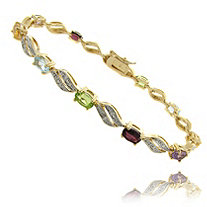 Multi-Color Semi-Precious Gemstone Pave Bracelet With Diamond Accent In 18k Gold-Plated