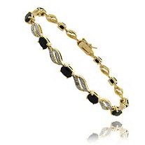 Sapphire Swirl Pave Bracelet With Diamond Accent In 18k Gold-Plated