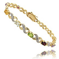 "Multi-Color Semi-Precious Gemstone ""X & O"" Pavé Tennis Bracelet with Diamond Accent in 18k Gold-Plated"