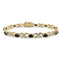 "Blue Sapphire ""X & O"" Pave Tennis Bracelet With Diamond Accent In 18k Gold-Plated"