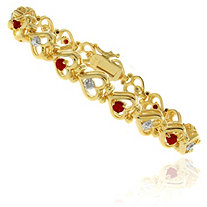 Ruby and Diamond Accent Heart-Link Bracelet in 18k Gold-Plated
