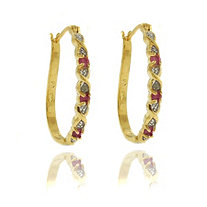 "Ruby & Diamond Accent ""X & O"" Hoop Pierced Earrings in 18k Gold-Plated"