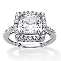 2.02 TCW Cushion Princess-Cut Cubic Zirconia Platinum Over Sterling Silver Halo Ring