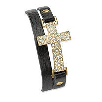 "Crystal Accent Yellow Gold Tone Double-Wrap Leather Cross Bracelet Adjustable 6"" to 8"""