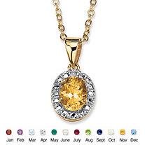 18k Yellow Gold-Plated Birthstone Drop Pendant 18